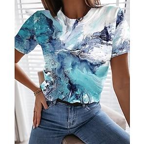 billige Dametopper-Dame Abstrakt Geometrisk Maling T skjorte Grafisk Landskap Trykt mønster Rund hals Grunnleggende Topper Grønn