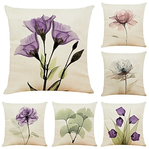 cheap Cushion Covers-6 pcs Linen Pillow Cover, Floral&Plants Simple Modern Square Zipper Traditional Classic Outdoor Cushion for Sofa Couch Bed Chair