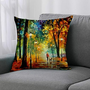 cheap Cushion Covers-Double Side 1 Pc Botanical Cushion Cover  Print 45x45cm Linen for Sofa Bedroom
