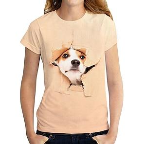 billige Dametopper-Dame 3D T skjorte Hund Grafisk 3D Trykt mønster Rund hals Grunnleggende Topper Hvit Gul Oransje