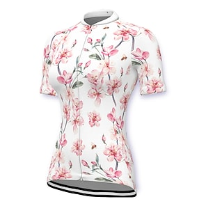 cheap Cycling Jerseys-21Grams Women's Short Sleeve Cycling Jersey Summer Spandex Polyester White Floral Botanical Bike Jersey Top Mountain Bike MTB Road Bike Cycling Quick Dry Moisture Wicking Breathable Sports Clothing