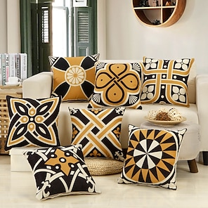 cheap Cushion Covers-1 Pc Geometric Cushion Cover Double Side Print 45x45cm Linen for Sofa Bedroom