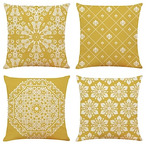 cheap Cushion Covers-Cushion Cover 4PCS Linen Soft Geometric Simple Classic Square Throw Pillow Cover Cushion Case Pillowcase for Sofa Bedroom 45 x 45cm (18 x 81 Inch)Superior Quality Machine Washable