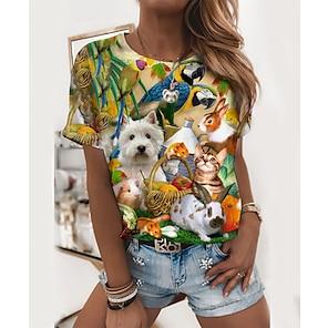 billige Dametopper-Dame 3D Maling T skjorte Grafisk Dyr Trykt mønster Rund hals Grunnleggende Topper Grønn