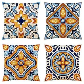 cheap Cushion Covers-Cushion Cover 4PCS Linen Soft Geometric Simple Classic Square Throw Pillow Cover Cushion Case Pillowcase for Sofa Bedroom 45 x 45cm (18 x 82 Inch)Superior Quality Machine Washable