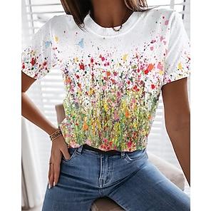 billige Dametopper-Dame Blomster Tema Maling T skjorte Blomstret Grafisk Trykt mønster Rund hals Grunnleggende Topper Hvit Blå Gul