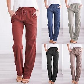 billige Bukser og skjørt til damer-kvinners yoga linbukser løpebånd brede bukser løs med lommer lyseblå yoga fitness gym trening sport aktivtøy elastisk tynn