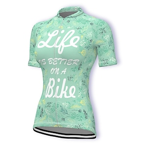 cheap Cycling Jerseys-21Grams Women's Short Sleeve Cycling Jersey Summer Spandex Polyester Green Leaf Bike Jersey Top Mountain Bike MTB Road Bike Cycling Quick Dry Moisture Wicking Breathable Sports Clothing Apparel