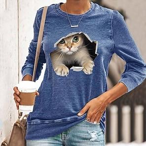 billige Dametopper-Dame 3D Cat T skjorte Katt Grafisk 3D Langermet Trykt mønster Rund hals Grunnleggende Topper Svart Blå Gul