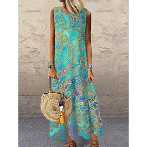 cheap Women's Dresses-Women's Shift Dress Maxi long Dress Blue Purple Orange Green Light Blue Sleeveless Floral Print Print Spring Summer Round Neck Casual 2021 S M L XL XXL 3XL