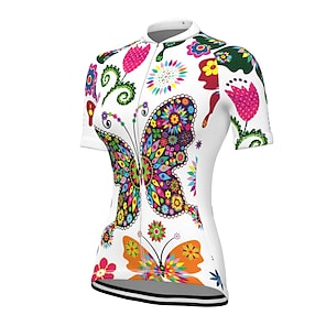 cheap Cycling Jerseys-21Grams Women's Short Sleeve Cycling Jersey Summer Spandex Polyester Red / White Blue Yellow Butterfly Floral Botanical Bike Jersey Top Mountain Bike MTB Road Bike Cycling UV Resistant Quick Dry