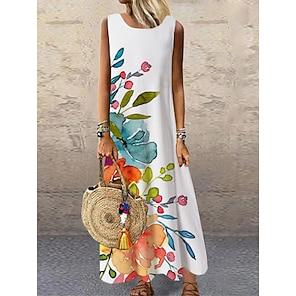 cheap Women's Dresses-Women's Shift Dress Maxi long Dress White Sleeveless Floral Print Print Spring Summer Round Neck Casual 2021 S M L XL XXL 3XL