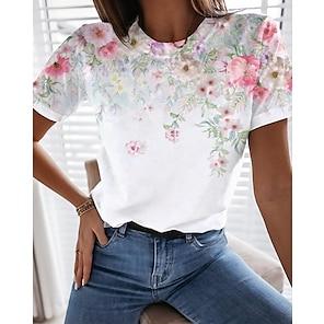 billige Dametopper-Dame Blomster Tema Maling T skjorte Blomstret Grafisk Trykt mønster Rund hals Grunnleggende Topper Hvit