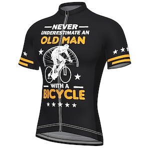 cheap Cycling Jerseys-21Grams Men's Short Sleeve Cycling Jersey Summer Spandex Polyester Blue Yellow Black Bike Jersey Top Mountain Bike MTB Road Bike Cycling Quick Dry Moisture Wicking Breathable Sports Clothing Apparel