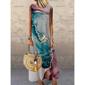 cheap Women's Dresses-Women's Shift Dress Maxi long Dress Blue Purple Sleeveless Print Color Gradient Print Spring Summer Round Neck Casual 2021 S M L XL XXL 3XL