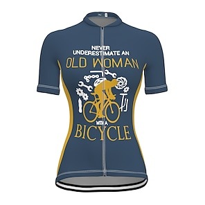 cheap Cycling Jerseys-21Grams Women's Short Sleeve Cycling Jersey Summer Spandex Polyester Blue Yellow Orange Bike Jersey Top Mountain Bike MTB Road Bike Cycling Quick Dry Moisture Wicking Breathable Sports Clothing