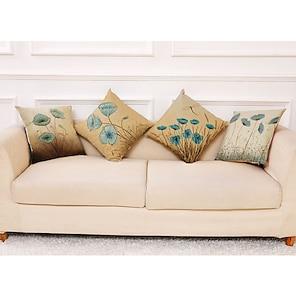 cheap Cushion Covers-Cushion Cover 4PCS Linen Decorative Square Throw Pillow Cover Cushion Case Pillowcase for Sofa Bedroom 45 x 45 cm (18 x 18 Inch) Superior Quality Machine Washable