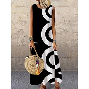 cheap Women's Dresses-Women's Shift Dress Maxi long Dress Black Sleeveless Print Geometric Print Spring Summer Round Neck Casual Holiday 2021 S M L XL XXL 3XL