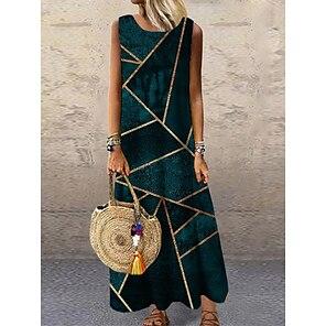 cheap Women's Dresses-Women's Shift Dress Maxi long Dress Army Green Sleeveless Color Block Geometric Print Spring Summer Round Neck Casual 2021 S M L XL XXL 3XL