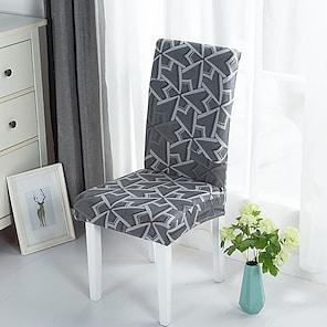 ieftine -Husă pentru scaun de bucătărie extensibilă husă pentru cină petrecere geometrică moale durabilă lavabilă