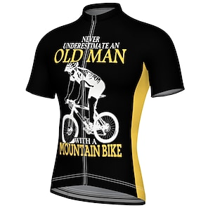 cheap Cycling Jerseys-21Grams Men's Short Sleeve Cycling Jersey Summer Spandex Polyester Black Blue Orange Bike Jersey Top Mountain Bike MTB Road Bike Cycling Quick Dry Breathable Reflective Strips Sports Clothing Apparel