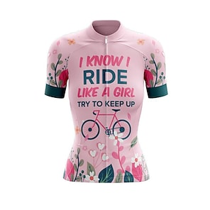 cheap Cycling Jerseys-21Grams Women's Short Sleeve Cycling Jersey Summer Spandex Polyester Pink Floral Botanical Bike Jersey Top Mountain Bike MTB Road Bike Cycling Quick Dry Moisture Wicking Breathable Sports Clothing