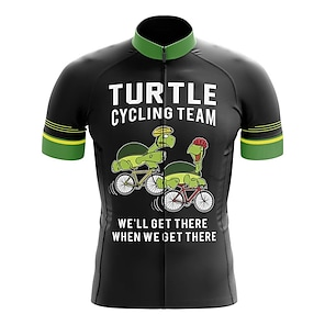 cheap Cycling Jerseys-21Grams Men's Short Sleeve Cycling Jersey Summer Spandex Polyester Black Sloth Bike Jersey Top Mountain Bike MTB Road Bike Cycling Quick Dry Moisture Wicking Breathable Sports Clothing Apparel
