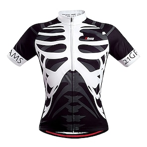 cheap Cycling Jerseys-21Grams Men's Short Sleeve Cycling Jersey Summer Polyester Yellow Blue Orange Skeleton Bike Jersey Top Mountain Bike MTB Road Bike Cycling Quick Dry Breathable Back Pocket Sports Clothing Apparel