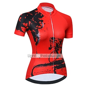 cheap Cycling Jerseys-21Grams Women's Short Sleeve Cycling Jersey Summer Spandex Polyester Light Blue Black / Red Yellow Novelty Gear Bike Jersey Top Mountain Bike MTB Road Bike Cycling UV Resistant Quick Dry Breathable