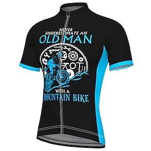 cheap Cycling Jerseys-21Grams Men's Short Sleeve Cycling Jersey Summer Spandex Polyester Black Bike Jersey Top Mountain Bike MTB Road Bike Cycling Quick Dry Moisture Wicking Breathable Sports Clothing Apparel / Athleisure