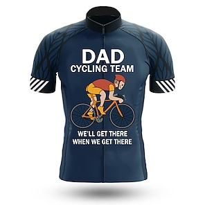 cheap Cycling Jerseys-21Grams Men's Short Sleeve Cycling Jersey Summer Spandex Polyester Dark Navy Bike Jersey Top Mountain Bike MTB Road Bike Cycling Quick Dry Moisture Wicking Breathable Sports Clothing Apparel