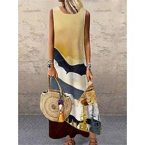 cheap Women's Dresses-Women's Shift Dress Maxi long Dress Yellow Sleeveless Print Color Block Print Spring Summer Round Neck Casual 2021 S M L XL XXL 3XL