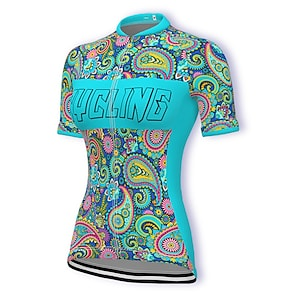 cheap Cycling Jerseys-21Grams Women's Short Sleeve Cycling Jersey Summer Spandex Polyester Sky Blue Paisley Bike Jersey Top Mountain Bike MTB Road Bike Cycling Quick Dry Moisture Wicking Breathable Sports Clothing Apparel