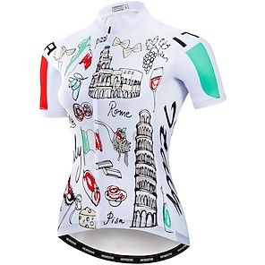 cheap Cycling Jerseys-21Grams Women's Short Sleeve Cycling Jersey Summer Spandex Polyester White Bike Jersey Top Mountain Bike MTB Road Bike Cycling Quick Dry Moisture Wicking Breathable Sports Clothing Apparel / Stretchy