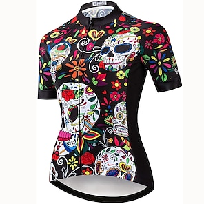 cheap Cycling Jerseys-21Grams Women's Short Sleeve Cycling Jersey Summer Spandex Polyester Brown Sugar Skull Skull Floral Botanical Bike Jersey Top Mountain Bike MTB Road Bike Cycling Quick Dry Moisture Wicking Breathable