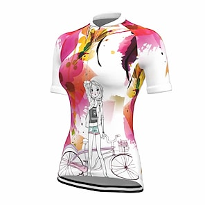 cheap Cycling Jerseys-21Grams Women's Short Sleeve Cycling Jersey Summer Spandex Polyester Violet Bike Jersey Top Mountain Bike MTB Road Bike Cycling Quick Dry Moisture Wicking Breathable Sports Clothing Apparel