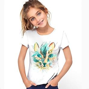 cheap Tops-Kids Girls' T shirt Short Sleeve Cat 3D Print Animal Blue Blushing Pink Green Children Tops Summer Active Daily Wear Regular Fit 4-12 Years
