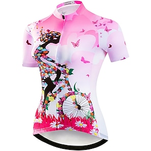 cheap Cycling Jerseys-21Grams Women's Short Sleeve Cycling Jersey Summer Elastane Polyester Purple Red Yellow Floral Botanical Bike Jersey Top Mountain Bike MTB Road Bike Cycling Quick Dry Moisture Wicking Breathable