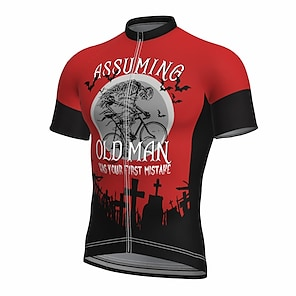 cheap Cycling Jerseys-21Grams Men's Short Sleeve Cycling Jersey Summer Spandex Polyester Red Sugar Skull Bike Jersey Top Mountain Bike MTB Road Bike Cycling Quick Dry Moisture Wicking Breathable Sports Clothing Apparel
