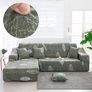 billige -elegant blad sofadeksel 1-delt sofadeksel som passer til 1-4-seters l-formet sofa myk stretch stretchcover spandex jacquard stoff lett å installere (1 gratis putetrekk)
