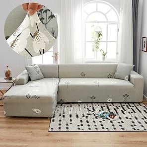 olcso -pitypang repül káprázatos aranyvonalas kanapéhuzat 1 részes kanapéhuzat 1–4 személyes l-alakú kanapéhoz, puha nyújtású slipcover spandex jacquard anyagból, könnyen felszerelhető