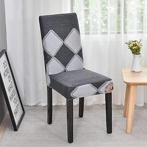 abordables -Funda para silla de cocina Geométrico Hilos teñidos Poliéster Fundas
