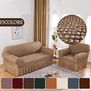 olcso -nyújtható kanapéhuzat slipcover buborék rács rugalmas szekcionált kanapé fotel loveseat 4 vagy 3 üléses l alakú fekete szürke szoknyával sima szilárd puha mosható