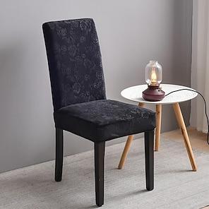 billiga -stretch köksstolskåpa slipcover jacquard för middagssalong svartbrun vanligt fast mjuk tålig tvättbar