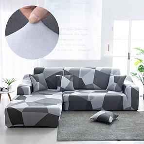 tanie -rozciągliwa narzuta na sofę narzuta elastyczna kanapa segmentowa fotel loveseat 4 lub 3 osobowa l kształt szary abstrakcyjne geometryczne miękkie trwałe zmywalne