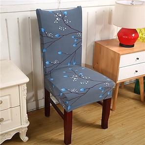 tanie -Rozciągliwy pokrowiec na krzesło kuchenne do jadalni kwiatowy kwiat miękki trwały zmywalny