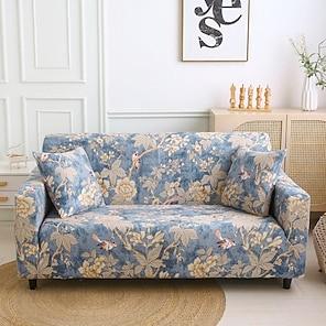billige -stretch sofa betræk slipcover elastisk sektions sofa lænestol loveeat 4 eller 3 personers l form blomstret blomst dyr støvprof blød holdbar vaskbar