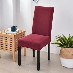 Недорогие -эластичный чехол для кухонного стула, чехол для обеденной вечеринки, однотонный, мягкий, съемный, моющийся
