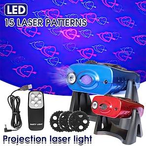 hesapli -Projektör Işığı Sahne Işıkları Uzaktan kumandalı Lazer Işık Projektörü Sesle etkinleştirilen Mod Parti Sahne Yatak odası Kırmızı