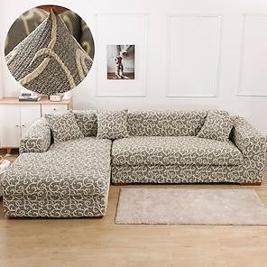 billige -stretch sofa cover slipcover jacquard elastisk sectional sofa lenestol loveseat 4 eller 4 eller 3 seter l form grå svart botaniske planter myk holdbar vaskbar